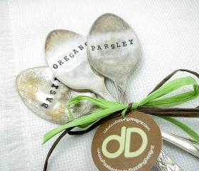 Hand Stamped Vintage Silverware Garden Markers - Set of 3 Spoons
